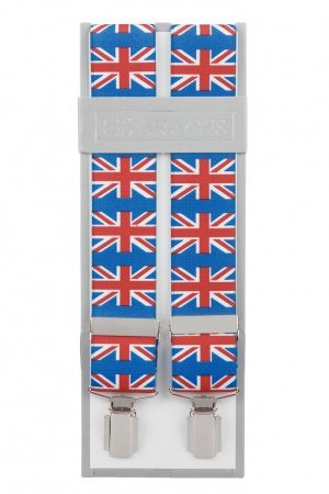 Union Jack Flag Braces For Trousers With Silver Coloured Feather Edged Clips